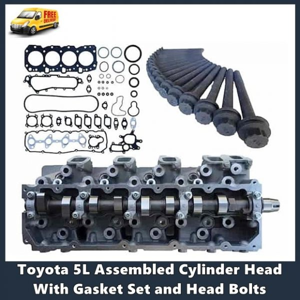 Toyota 5L Assembled Cylinder Head With Gasket Set and Head Bolts-