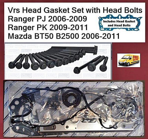 Vrs Head Gasket Set with Head Bolts Fits Ranger PJ 2006-2009 Ranger PK 2009-2011 Mazda BT50 B2500 2006-2011