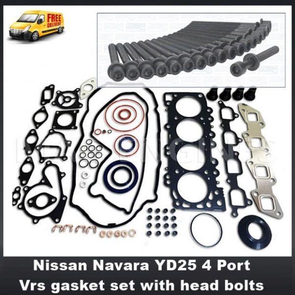 Nissan Navara YD25 4 Port Vrs gasket set with head bolts