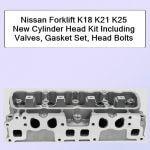 Nissan Forklift K18 K21 K25 New Cylinder Head Kit Including Valves, Gasket Set, Head Bolts