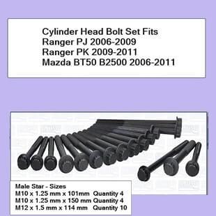 Cylinder Head Bolt Set Fits Ranger PJ PK 2006-2011 Mazda BT50 B2500 2006-2011