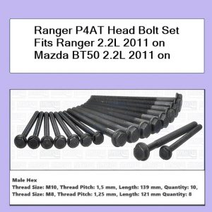 Ranger P4AT Head Bolt Set Fits Ranger 2.2L 2011 on Mazda BT50 2.2L 2011 on