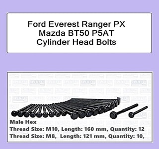Ford Everest Ranger PX Mazda BT50 P5AT Cylinder Head Bolts