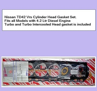 Nissan TD42 Vrs Cylinder Head Gasket Set. Fits all Models Turbo and Turbo intercooled. Head gasket is included