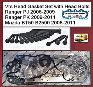 Vrs Head Gasket Set with Head Bolts Fits Ranger PJ 2006-2009 Ranger PK 2009-2011 Mazda BT50 2006-2011