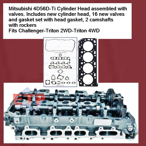 Mitsubishi 4D56D-Ti Cylinder Head assembled with valves fitted and camshafts