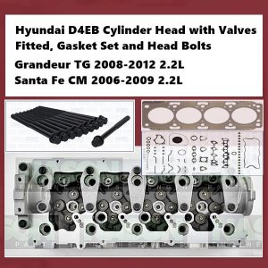 Hyundai D4EB Cylinder Head with Valves Fitted, Gasket Set and Head Bolts