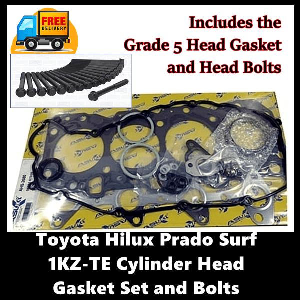 Toyota Hilux Prado Surf 1KZ-TE Cylinder Head Gasket Set with Head Bolts